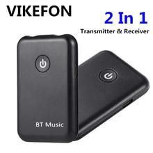 VIKEFON Bluetooth Empfänger Sender 2 in 1 Wireless Bluetooth Aux Audio Empfänger 3,5mm Jack Auto Adapter für TV PC kopfhörer