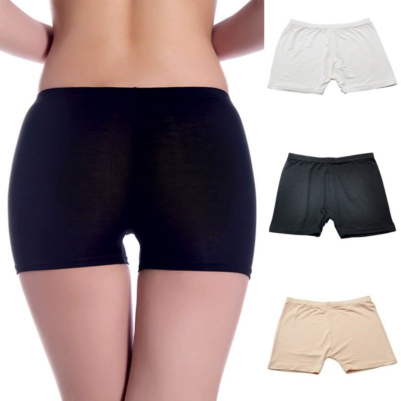 Women Casual Seamless Modal Panties Elastic Female Safety Underwear Comfy Lady Intimate Solid Color Anti-lighting Pants