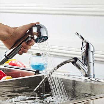 Kitchen Faucets Single Handle Pull Out Kitchen Tap 360 Degree Swivel Single Hole Handle Water Mixer Tap Chromeplate Faucet kitchen faucets silver single handle pull out kitchen sink tap single hole handle swivel 360 degree rotation water mixer tap