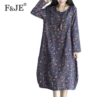 F Je New 2017 Spring Women S Cotton Floral Print Loose Dress Femme Casual Clothing Women