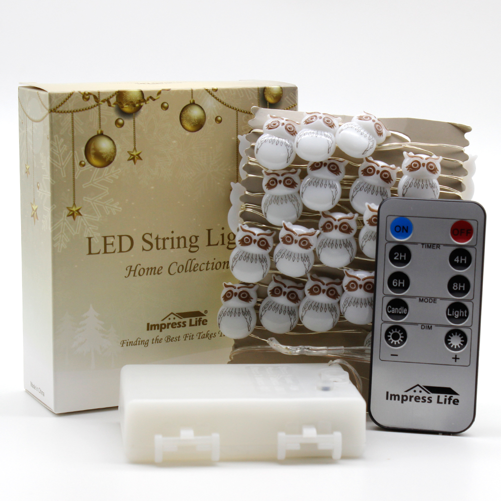 Snow Owl Led Fairy Lights String 10ft Copper Wire Dimmer Remote ...