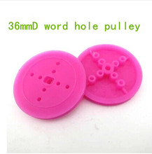 36mmD word hole pulley wheels plastic wheels model DIY toy Parts transformation belt drive smart car free shipping
