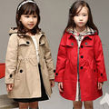 Hot Selling Baby Girls Clothes Trench Coat Kids Winter Warm Jacket Windbreaker Hooded Outerwear