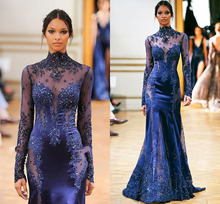 New Fashion Long Evening Dress 2014 Arrival Formal Dresses High Neck Sleeves Mermaid Party Free Shipping CH-1471