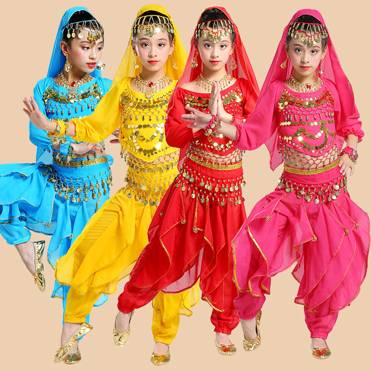 Long Sleeve Kids Belly Dance Costume Children Dance Costumes Girl Belly Dance Kid Indian Dance Costumes For Kids 5pcs/set