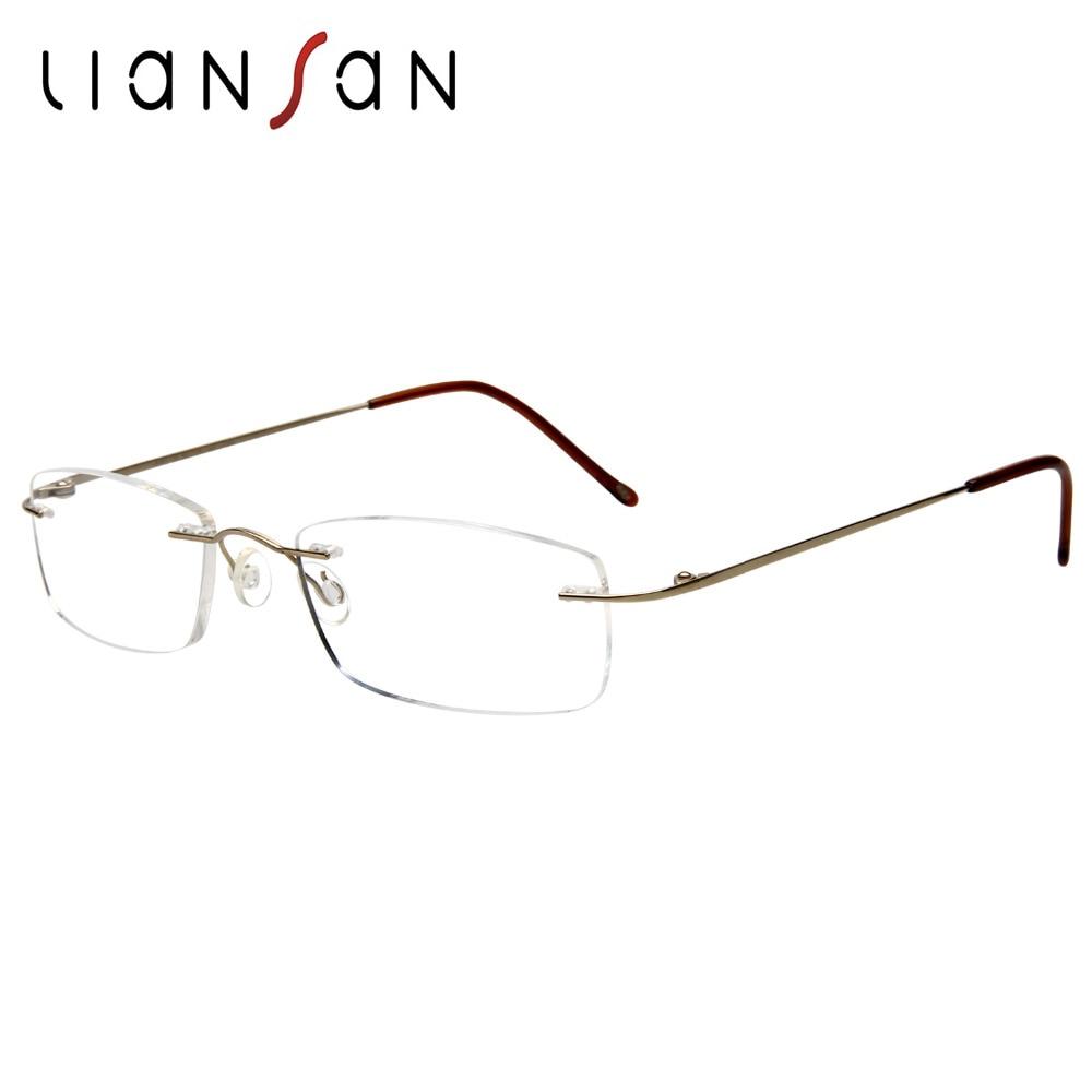 Liansan Vintage Fashion Titanium Rimless Reading Glasses Women Men Retro Brand Designer
