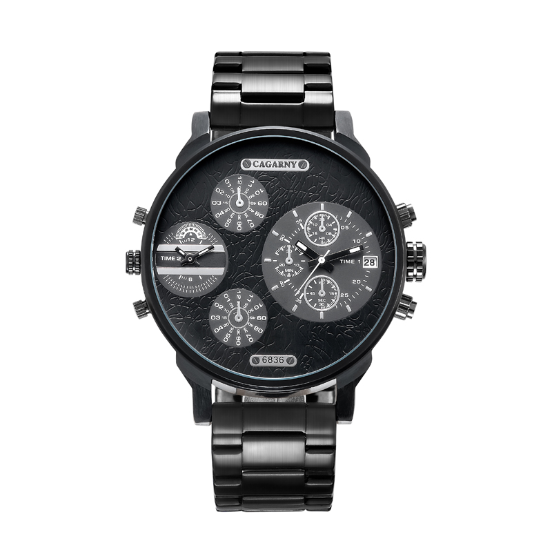 Classy <font><b>52MM</b></font> Big Case Quartz <font><b>Watch</b></font> For Men Black Stainless Steel Band Casual Mens Wrist <font><b>Watches</b></font> Man Waterproof Relogio Masculino image