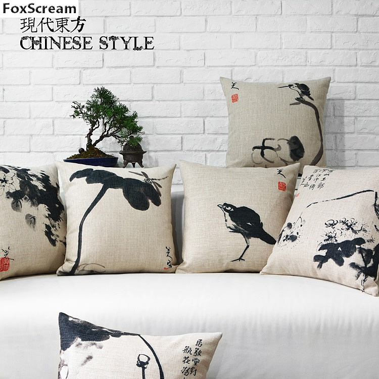 White Couch Pillows Part - 50: Wholesaler Chinese Style Decorative Throw Pillows Cover Black And White  Cushion Cover Home Decor Seat Chair Couch Pillow Case