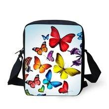 Купить с кэшбэком Cross Body Bag Butterfly Printing Messenger Bags for Men Women Hot Brand Small Cross Body Bags for Ladies Mens Travel Bags