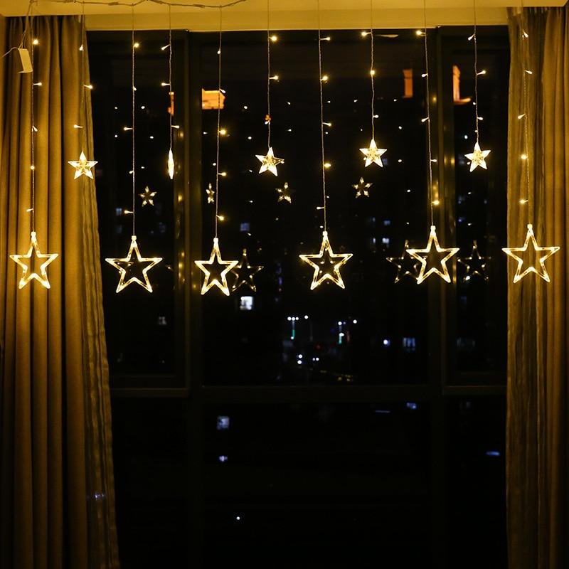 3.5M 12LED Star String Lights Indoor Bedroom Garland Curtain Lights USB Battery Powered Festoon Led Fairy Light Chain SL064