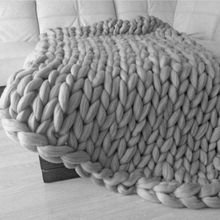 Wool Soft Autumn and Winter Chunky Knitted Sofa Blanket