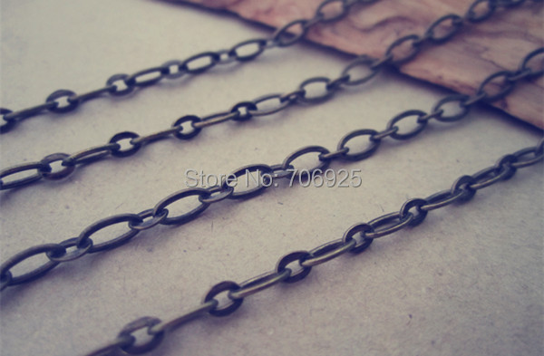 40pcs lot 70cm antique Bronze Squashed chain with Lobster clasp 3mm in Chain Necklaces from Jewelry Accessories