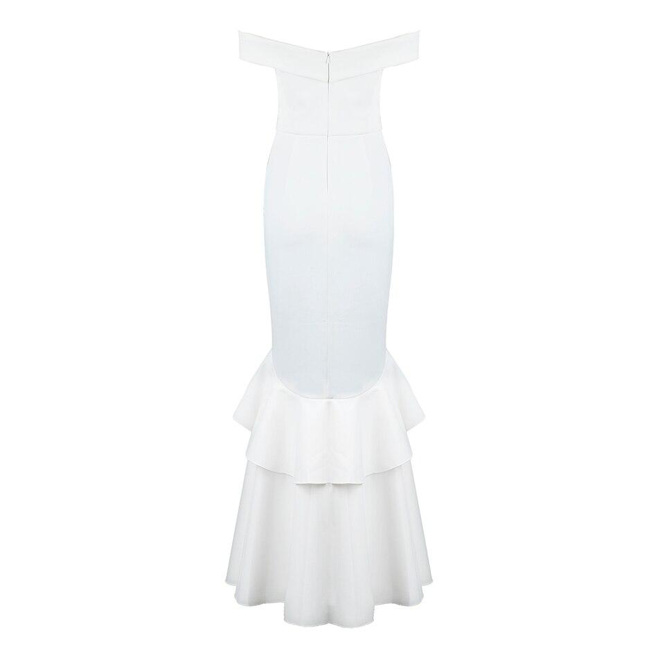 2018 Shoulder Soirée Ruches Nouveau Maix Élégant De Printemps Robes Femmes Off The Partie Blanc Longues Sexy Robe n1zZ1Xv