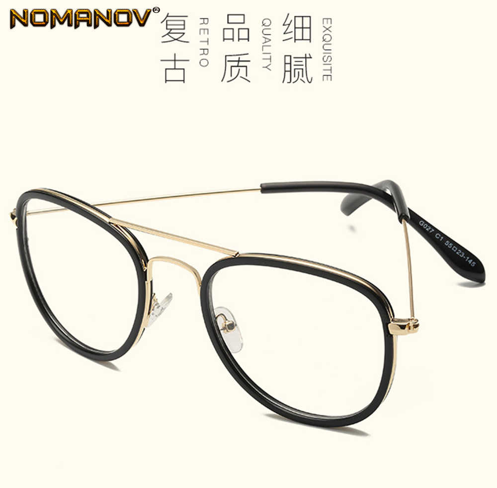 Fashion Personality Oversized Round Quality Frame Classic TREND Spectacles with Optical Lens or Photochromic Gray / Brown Lenses
