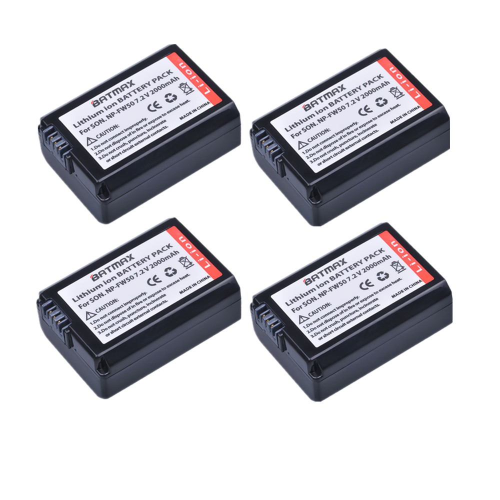 4Pcs 2000mAh NP-FW50 FW50 NPFW50 Camera Rechargeable Battery for Sony a37 Alpha 7 7R II 7S a7S a7R II a5000 NEX-7 SLT-A37