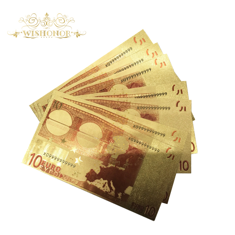 10pcs lot Nice Colored Europe Gold Banknotes 10 Euro Banknotes In 24k Gold Foil Plated Fake Money for Collection in Gold Banknotes from Home Garden