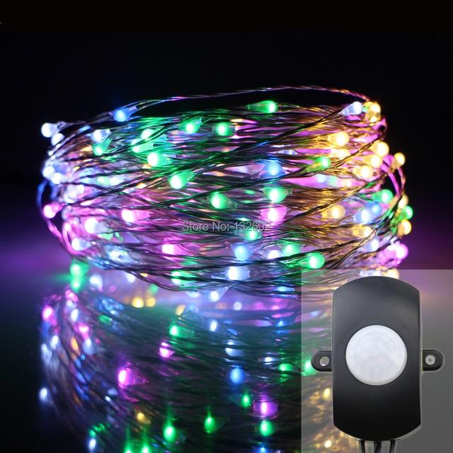 Motion Sensor 10M 15M 20M Indoor LED String Lights, Silver Wire ...