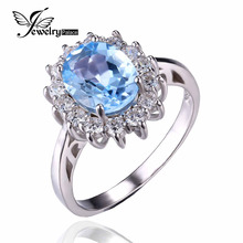 JewelryPalace Princesa Diana William Kate 2.3ct Natural Topacio Azul Plata Esterlina 925 Joyería Fina de La Manera Anillo de Compromiso de Halo