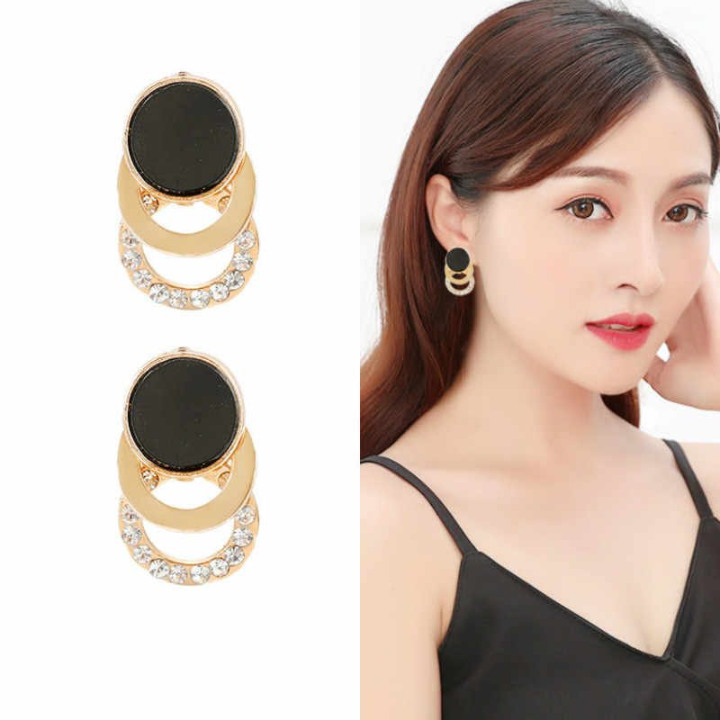2019 new jewelry silver needle earrings female black temperament earrings wholesale