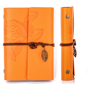 цена на Vintage Retro Loose-leaf Notebook Faux Leather Leaf Notepad Journal Diary Gift