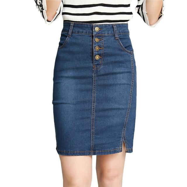 f93818b0bbd6b € 10.26 49% de réduction|Été automne femmes jupe crayon Jeans taille haute  bouton Slim Sexy bureau dame élégante Denim jupe 2019 Mori filles ...