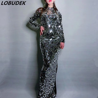 Silver Black Full Mirrors Crystals Long Dress Women Birthday Celebration Shining Sequins Dress Nightclub Party Sexy Skinny Dress