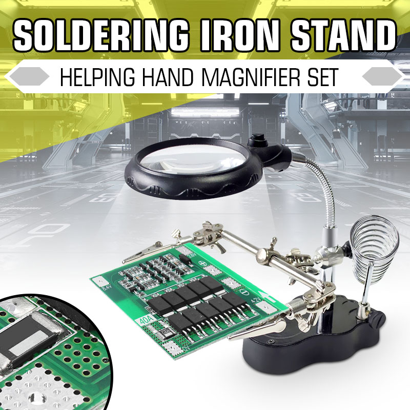 LED Light Soldering Iron Stand Holder Station Clamp Clip Helping Hands Magnifying Glass Magnifier Repair Power Tool Accessory
