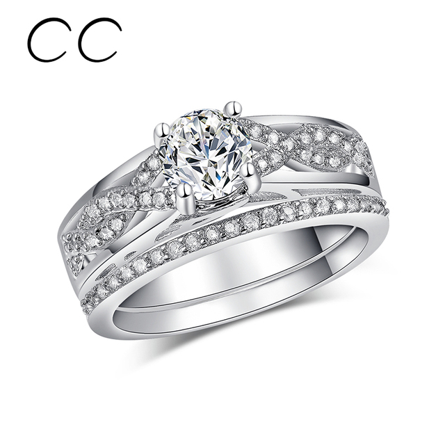 Fashion bridal sets engagement rings for women 2pcsset double rings