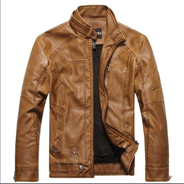 Asiatique taille de XS Nouveau Hommes Court En Cuir Vestes Hommes Stand Col  Manteaux Mâle Moto be88a1c7425