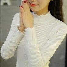 OHCLOTHING новое корейское тонкое платье кружевной вязаный свитер полуводолазка