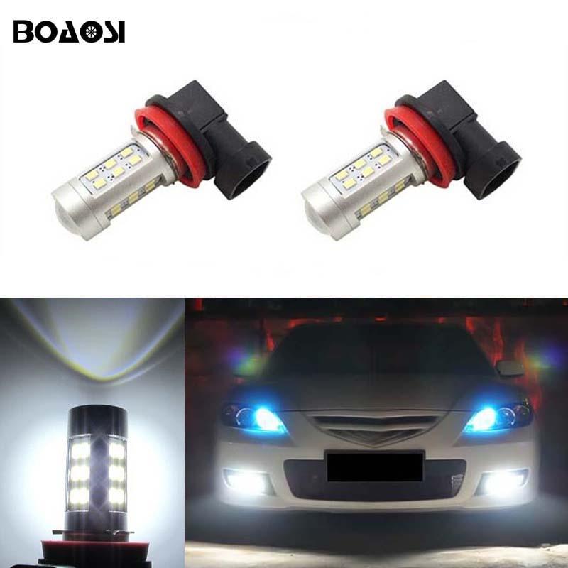 BOAOSI 2x Super White H8 H11 Samsung 2835SMD LED DRL Fog Light Lamp Bulb For mazda 3 5 6 xc-5 cx-7 axela atenza boaosi 2x h11 4014 32smd led fog light bulbs for mazda 3 6 cx 5 axela atenza car accessories