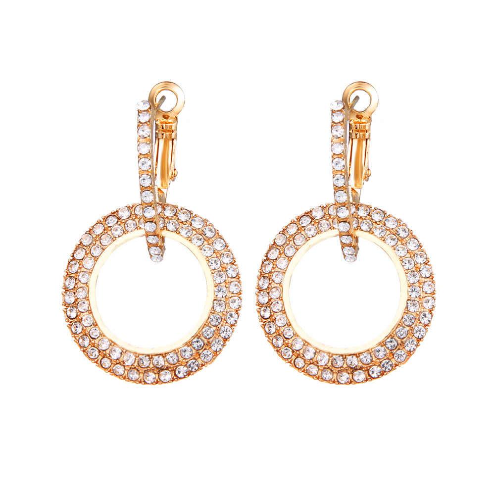 חדש עיצוב יצירתי תכשיטי בדרגה גבוהה אלגנטי קריסטל עגילי עגול זהב וכסף מסיבת חתונה עגילי לאישה