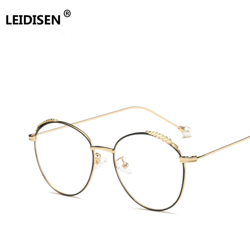 LEIDISEN Decoration Women Round Metal Glasses Frame Anti Allergy Tips Fashion Pearl Accessories Men Myopia Glasses Frames