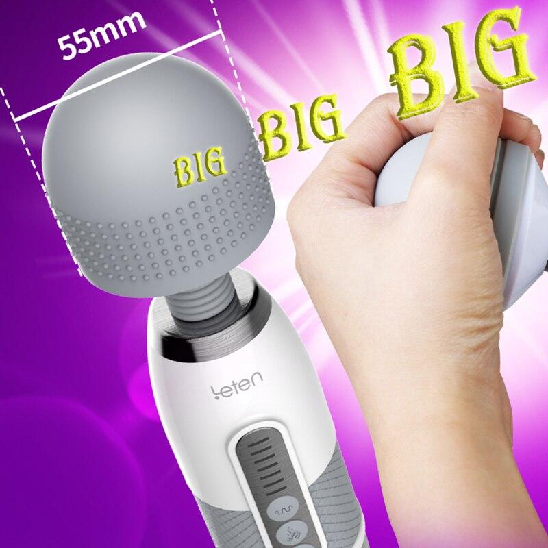 Leten powerful big head Magic wand vibrator, AV stick Sex Toys for Woman clitoris, Rechargeable female masturbation massager