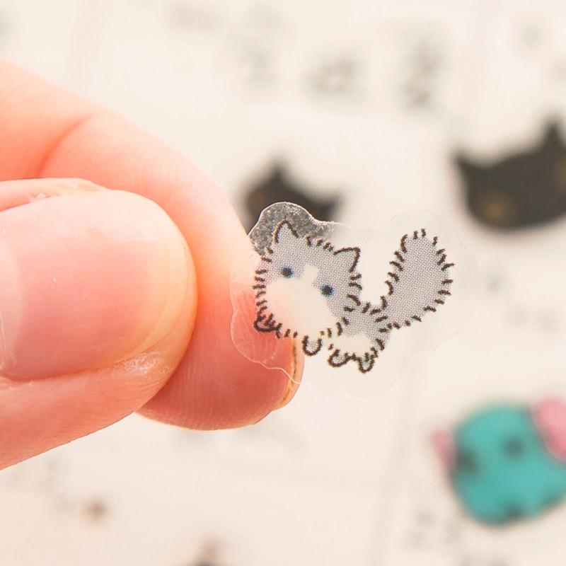 80pcs/Pack Cute Kawaii Rabbit Black Cat Mini Decorative Stickers Dairy Album DIY Decor Craft Stick Label