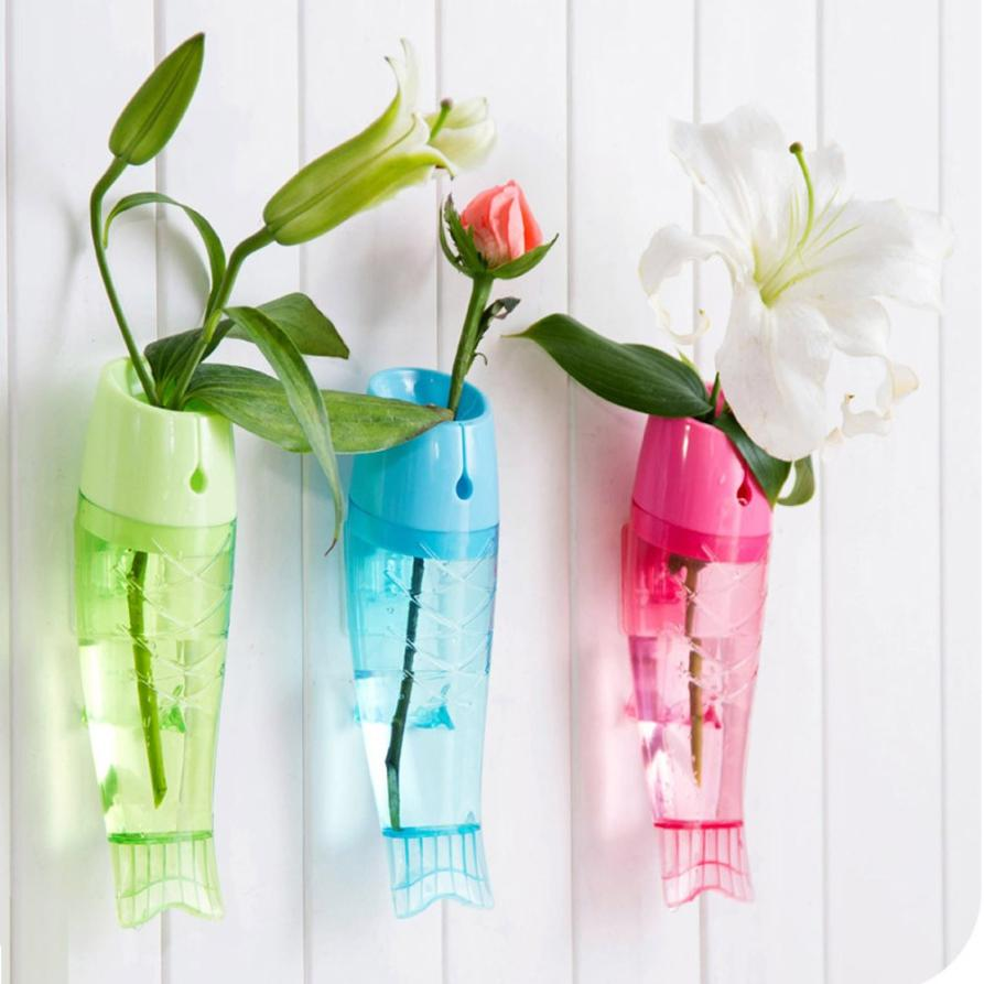 Wall vases for flowers - Hot Sale 2016 Vase Hanging Clear Fish Type Wall Mount Vase Flower Vase For Home Garden