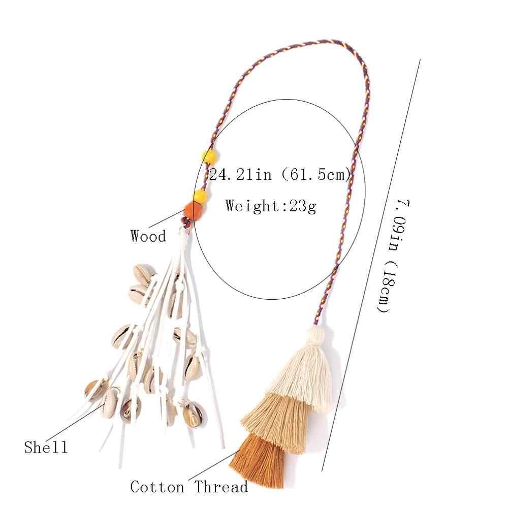 MANILAI Bohemian Handmade Saco Pingente Mulheres Charme Shell Multicolor Borlas de Algodão Grande Saco de Bola Acessórios de Moda