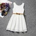 New girls kids fashion 2016 un año de edad a kd7 muchachas del vestido blanco de encaje sin mangas infantil