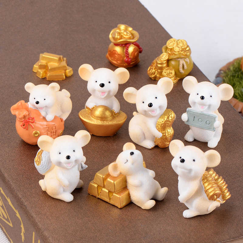 Money Fortune Cartoon Mouse bear mouse Ornaments Rich Mice Small Statue Little Figurine Crafts Cute Animal home Decoration 1PC