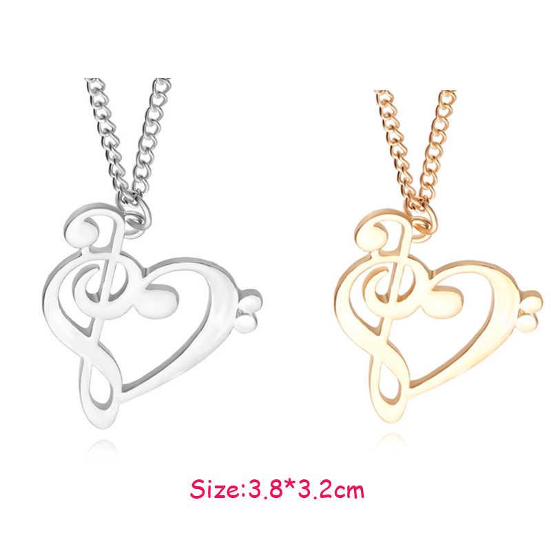cac8c312a5e6 2016 nueva moda amor corazón música nota collar oro caliente plateado collar  al por mayor