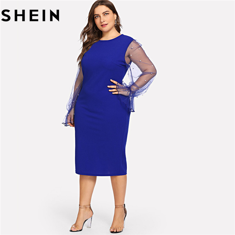 6e7a261a98a SHEIN Black Pearl Beading Mesh Ruffle Sleeve Plus Size Elegant Womens Bodycon  Dresses 2018 Blue Stretchy Solid Slim Pencil Dress-in Dresses from Women s  ...