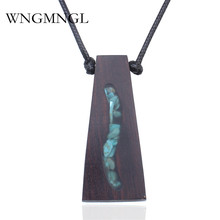 WNGMNGL 2018 New Handmade Wood Resin Necklaces Pendant Geometric Natural Stone Wooden Long Necklace Women Men Jewelry Gift