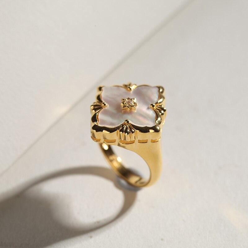 CMajor S925 Серебряные Ювелирные изделия Итальянский стиль белая оболочка четырехлистный клевер винтажные Модные кольца для женщин - 2