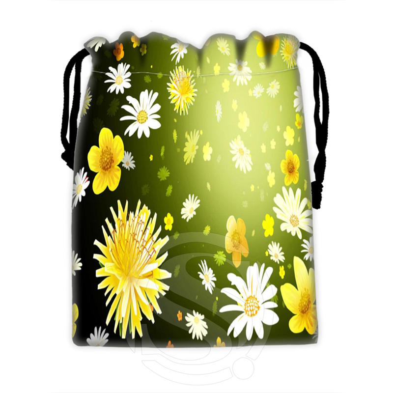 New Daisy Flower Pattern &8 Custom Logo Printed  Receive Bag  Bag Compression Type Drawstring Bags Size 18X22cm WT902&k18