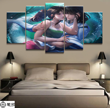 Home Decor 5 Piece Spirited Away Bailong Film Canvas Printed Wall Pictures For Living Room Poster Wholesale