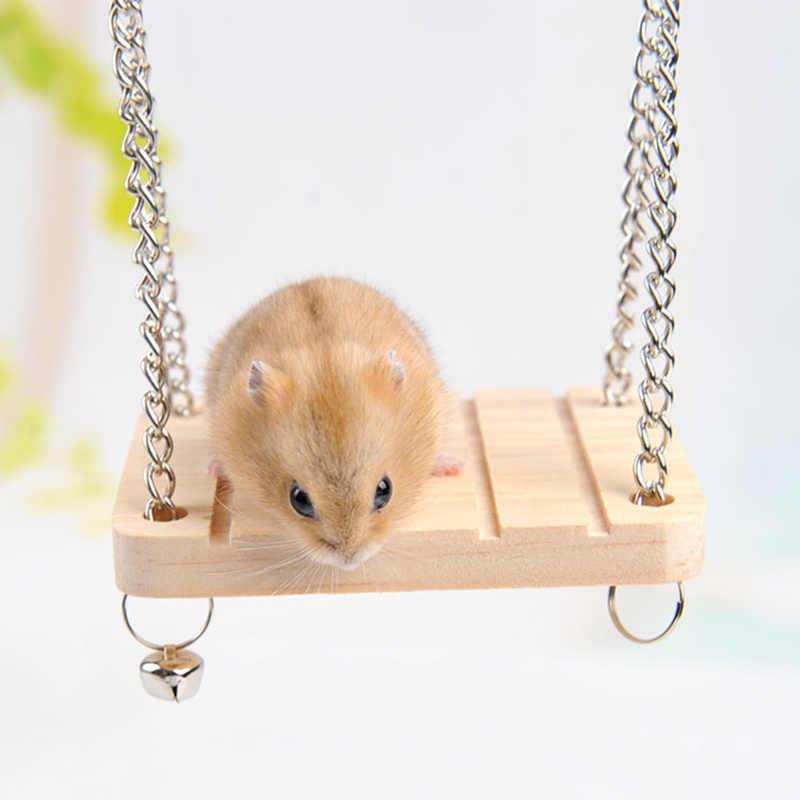Деревянные качели подвесная койка для животных мышь крыса птица хомяк играть с колокольчиком подвесная клетка качалка стул игрушка для маленького питомца с цепочкой
