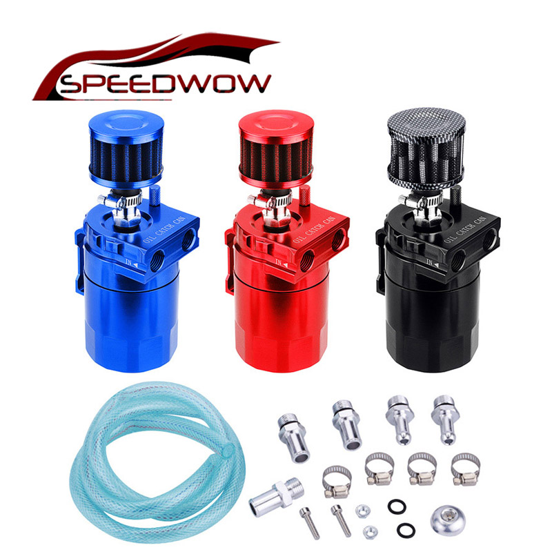SPEEDWOW Aluminum 0.3L Oil Catch Tank With Breather Filter / Baffled Oil Catch Can Reservoir Tank