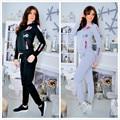 2017 Novo 2 Peça Conjunto de Senhoras Solto Hoodies + Pant Long terno Agasalho Casual Manga Comprida O Pescoço Flora Impresso Mulheres Suit Sporting