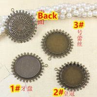 25mm 100pcs Antique Bronze Lace Blank Pendant Trays Bases Cameo Cabochon Setting for Glass/Stickers