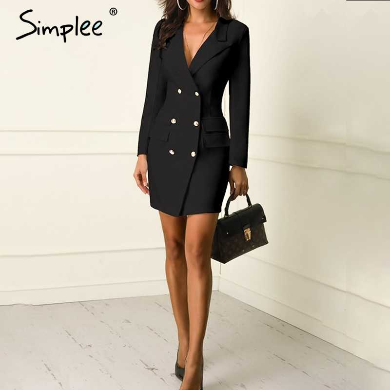 bd2f9a57bc04 ... Simplee Elegant double breasted women black dress Ladies office white  blazer dresses plus size Summer bodycon ...